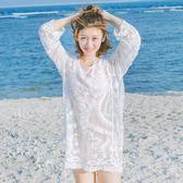 特賣款不退換防曬衫罩衫比基尼罩衫女海邊度假泳衣外套鏤空蕾絲溫泉服外搭沙灘防曬衣979(TBF12B)
