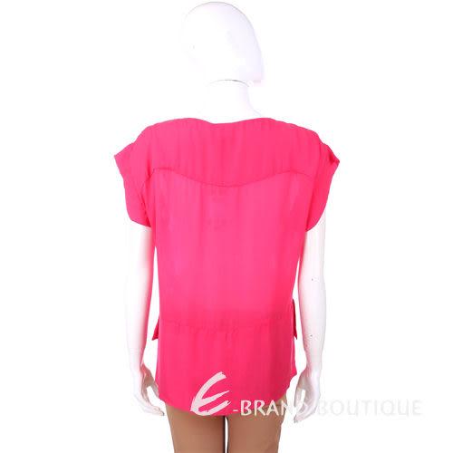 CERRUTI 1881 桃紅色 前短後長剪裁設計 短袖上衣(附腰帶) 1320290-41