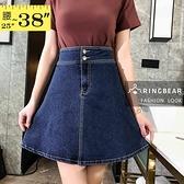A字裙--時尚高腰排釦設計簡潔臀部A字牛仔短裙(藍M-5L)-Q117眼圈熊中大尺碼◎