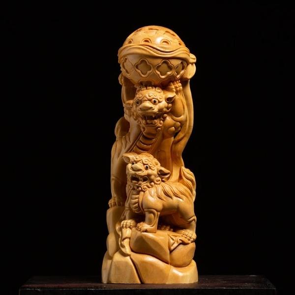 黃楊木雕獅子客廳辦公室裝飾雕刻工藝品風水鎮宅擺件雙獅戲球