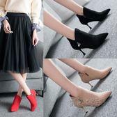 短靴女鞋細跟水鉆小跟短筒靴時尚百搭尖頭高跟馬丁靴 『魔法鞋櫃』