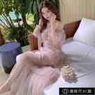 裙子新款2021年溫柔風網紗拼接蛋糕裙早春度假洋裝裙子超仙【全館免運】
