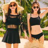 黑色性感聚攏修身顯瘦分體裙式比基尼