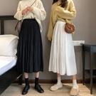 半身裙白色女新款百褶裙高腰顯瘦秋冬傘裙A字INS超仙學生裙子