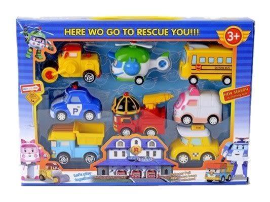 POLI 迴力車 8合1 救援小英雄 兒童車子玩具 安全 好玩 聖誕節 贈品 波力 安寶 赫力 小孩生日禮物