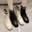 靴子.韓風時髦襪套撞色後拉鍊粗跟短靴.白...