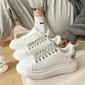 小白鞋.街頭百搭亮眼皮帶鉚釘扣厚底休閒鞋.白鳥麗子