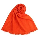 HERMES 經典素色logo羊絨混絲披肩圍巾(橘色)179147