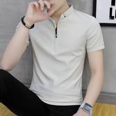新品 新款 潮帶領T恤男短袖夏季 立領Polo衫韓版修身薄款潮 聖誕裝飾8折