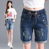 牛仔五分褲女夏寬鬆顯瘦學生韓國高腰短褲女胖MM大碼破洞直筒休閒  良品鋪子