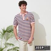 【JEEP】時尚狐狸圖騰條紋短袖POLO衫-粉