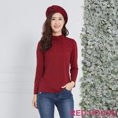 Red House 蕾赫斯-素面抽縐微高領上衣(共6色) 年前出清 滿599元才出貨