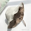 日本uv純棉雙面戴漁夫帽女大檐太陽防曬帽防紫外線兩遮陽帽子ins 探索先鋒