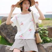 2018年夏裝新款棉麻女裝文藝寬鬆短袖T恤女亞麻印花上衣 森活雜貨
