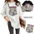EASON SHOP(GW9847)韓版純色復古卡通印花落肩寬鬆圓領短袖素色棉T恤女上衣服顯瘦打底內搭衫閨蜜裝