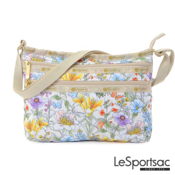 LeSportsac - Standard橫式三層拉鍊斜背包(盛夏/白) 3352P F101