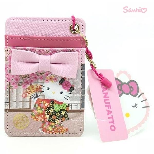 日本限定 凱蒂貓 HELLO KITTY x MANUFATTO 聯名款 珠鍊票卡夾 (和服手扇版)