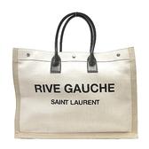 YVES SAINT LAURENT YSL 聖羅蘭 米色帆布黑色牛皮手提大方包 RIVE GAUCHE TOTE BAG