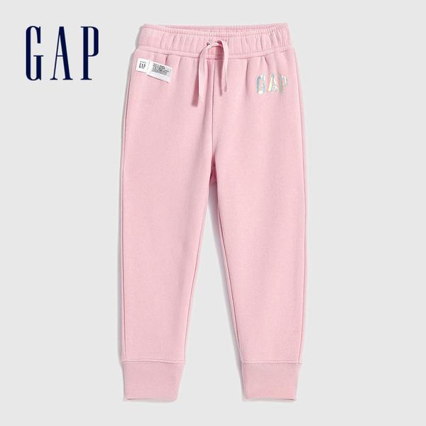 Gap女幼童 Logo漸層風格鬆緊針織褲 619620-淡粉色
