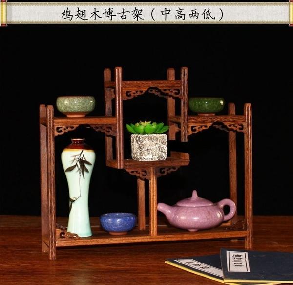 雞翅木中式仿古展示架 博古架 古董架 茶具展示架 古董玉器玉石水晶紫砂壺花瓶盆景擺飾專用木架