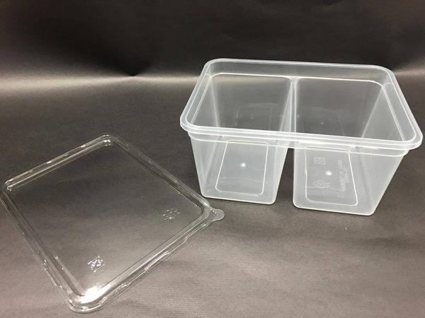 5入含蓋 800CC雙格分享盒 餅乾盒 點心盒 收納盒 蛋糕盒 PP盒 保鮮盒 西點盒 塑膠盒