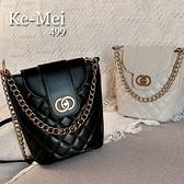 克妹Ke-Mei【ZT65827】採購重推!小香風金屬鍊菱格紋三用皮質大方包