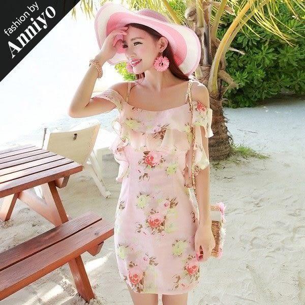 Anniyo安妞‧細肩帶一字領荷葉領露肩波西米亞海邊沙灘度假歐根紗碎花修身連衣裙洋裝 粉色