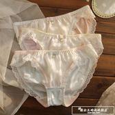 3條禮盒裝日系三角底褲低腰可愛蕾絲花邊牛奶絲無痕內褲學生少女『韓女王』