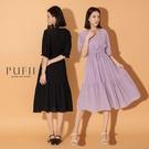 PUFII-洋裝 自訂款唯美V領蛋糕裙擺長洋裝(附綁帶)-0513 現+預 夏【CP20304】