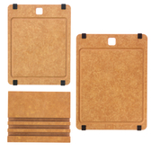 (組)高密度木纖維溝槽止滑砧板(S)+高密度木纖維溝槽止滑砧板(M)+砧板座