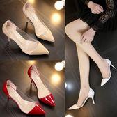 透明高跟鞋細跟尖頭性感淺口女單鞋漆皮拼色婚鞋秋季新款高跟女鞋  卡布奇诺
