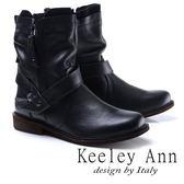 ★2017秋冬★Keeley Ann時尚指標~質感抓皺擦色真皮中筒靴(黑色)