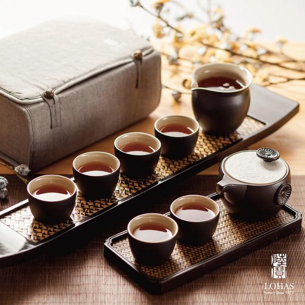 陸寶【定窯龍紋旅行茶組】 一壺一海六杯 旅行布包