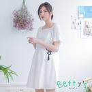 betty's貝蒂思 素色方領荷葉短袖洋裝(白色)