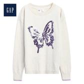 Gap女童舒適亮片圖案圓領長袖針織衫497623-米色
