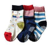 【韓風童品】(3雙/組)男童棉質襪子 兒童點膠防滑襪子 嬰幼兒襪子  男童襪