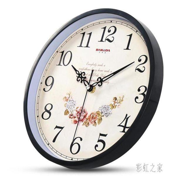 客廳現代簡約個性時鐘家用靜音時尚掛表石英鐘歐式創意復古掛鐘PH201【彩虹之家】
