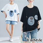 清涼衣夏假兩件熊熊印花寬鬆T恤上衣US5062(黑/白/藍)