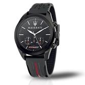 MASERATI 瑪莎拉蒂 三眼多功能計時矽膠腕錶45mm(R8871612004)