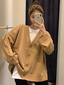 針織開衫春秋季2021韓版V領針織開衫學生寬鬆外穿百搭毛衣慵懶風外套女裝 韓國時尚