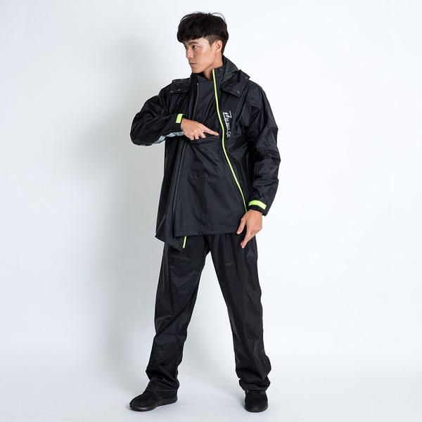 君邁雨衣,Double雙拉鍊斜開兩件式雨衣,黑黑