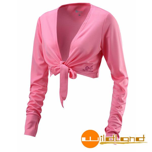Wildland荒野 W1805-22蜜粉紅 女 抗UV排汗綁帶袖套衣/吸濕排汗/快乾/防曬外套/單車休閒防曬衣