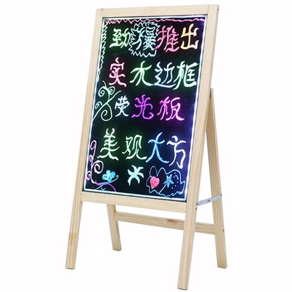 LED熒光板實木電子LED熒光板發光黑板手寫板廣告牌5070寫字板立式瑩光屏