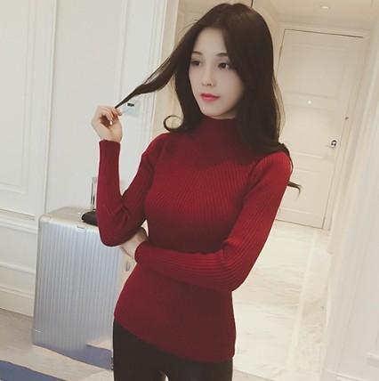 EASON SHOP(GU9973)韓版純色坑條紋短版套頭小高領長袖毛衣螺紋針織衫女上衣服彈力貼身內搭衫卡其色