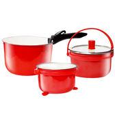 魔力坊嚴選 靚彩不鏽鋼800度高溫琺瑯燒製湯鍋超值組(2.8L+2L+1.4L)(MF0474)