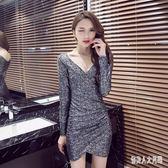 夜店洋裝新款2019性感修身顯瘦包臀連衣裙緊身打底低胸裙 qw4810『俏美人大尺碼』