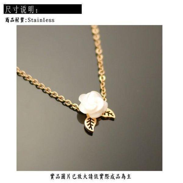 Silver 鈦鋼 項鍊 玫瑰 [ stn 027]