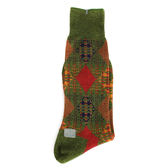 KENZO 大菱格紋刺繡紳士襪(綠色)999975