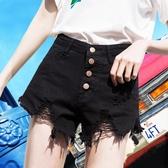 超短褲女夏2019新款韓版顯瘦高腰學生寬鬆百搭毛邊破洞牛仔熱褲子