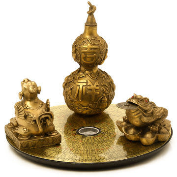 純銅貔貅金蟾葫蘆羅盤擺件